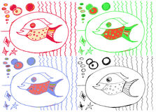 Drawing from hand of child, image of big fish. Drawing from the hand of the child, the image of a big fish among algae Royalty Free Stock Images