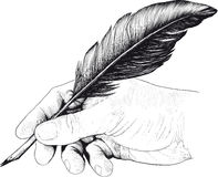 Drawing of hand with a feather pen. Vintage drawing of hand with a feather pen in style of an engraving Royalty Free Stock Image