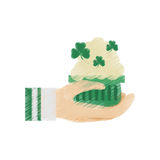 drawing hand holding beer foam clover st patricks day Royalty Free Stock Image