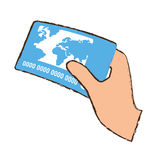 drawing hand holds blue credit card bank Stock Photo