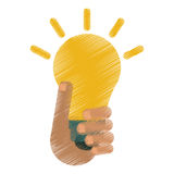 Drawing hand holds bulb idea innovation creative design Royalty Free Stock Image