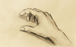 Drawing hand, pencil sketch on paper, sepia and vintage effect. Stock Photography