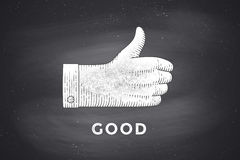 Drawing of hand sign with thumbs up in engraving style Royalty Free Stock Image