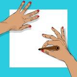 Drawing hands Stock Photos