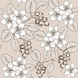 Drawing hands flowers and berries seamless pattern. Cute Summer seamless pattern with flowers and berries shadberry. stock illustration
