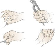 Drawing hands with tools Stock Photos