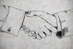 Drawing handshake Royalty Free Stock Images