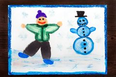 Drawing; Happy boy making a snowman. Winter recreations. Stock Photo