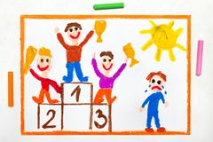 Drawing: happy children standing on the winner podium and one boy crying. Colorful drawing: happy children standing on the winner podium and one boy crying royalty free illustration