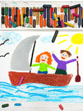 Drawing: happy couple floating on a sailboat Royalty Free Stock Photo