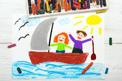 Drawing: happy couple floating on a sailboat Royalty Free Stock Photos