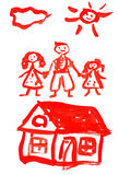 Drawing happy family Stock Images