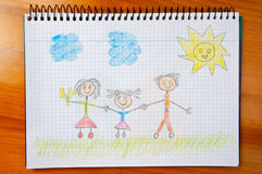 Drawing of a happy family Stock Photos