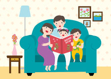 Drawing Of A Happy Family Enjoying Reading `Happy Bear` Storybooks. Together At Home Stock Photography