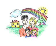 Drawing happy family. Drawing of happy family on white background with house and rainbow vector illustration