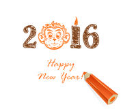 Drawing Happy new year and monkey. Drawing Happy new year, monkey and pencil on white background, illustration Royalty Free Stock Photo