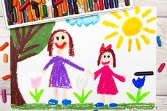 Drawing: Happy single mother with her daughter. Photo of colorful drawing: Happy single mother with her daughter Royalty Free Stock Image