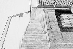 Drawing of Hardwood stairs and ramp Royalty Free Stock Photography