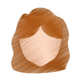 drawing head girl faceless hairstyle Stock Photography
