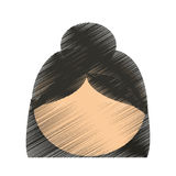 drawing head girl faceless hairstyle Royalty Free Stock Images