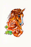 Drawing head of the horse Stock Images