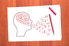 Drawing head and letters Royalty Free Stock Photography