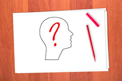 Drawing head and question mark Royalty Free Stock Photography