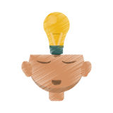 Drawing head thinking bulb idea innovation. Vector illustration eps 10 Royalty Free Stock Image