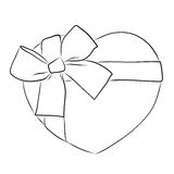 Drawing heart with big ribbon bow Royalty Free Stock Photography