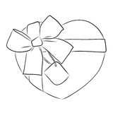 Drawing heart with big ribbon bow and tag Royalty Free Stock Photos