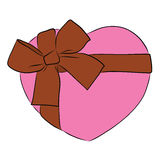 Drawing heart with big ribbon bow and tag Royalty Free Stock Images