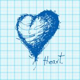 Drawing of heart on graph paper vector Stock Photos