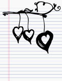 Drawing heart on paper Stock Images