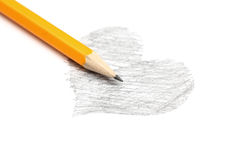 Drawing of heart and pencil Stock Image