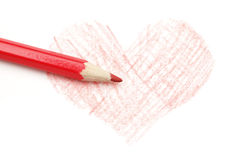 Drawing of heart and pencil Stock Photography