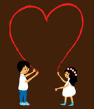 Drawing a heart. Pretty little boy and girl drawing a heart stock illustration