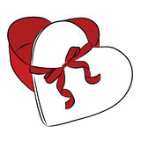 Drawing heart with ribbon bow Stock Photo