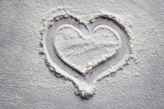 Drawing hearts in flour. One drawing hearts in flour Stock Photography