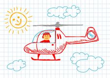 Drawing of helicopter Royalty Free Stock Photography