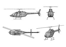 Drawing of helicopter structure Royalty Free Stock Images