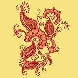 Drawing of Henna. Vector Indian Fabric. Pattern ornate  with flowers Stock Photos