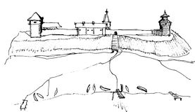 Drawing historic view with fortress and boats on the shore. Historic landscape with fortress and boats on the shore. Hang line drawing Royalty Free Stock Photos