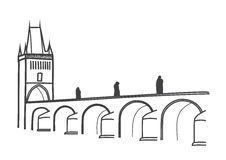 Drawing of historical Charles Bridge Prague Royalty Free Stock Image