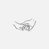 Drawing of holding hands isolated on white background. Symbol of love, dating, close relationship, intimacy and romance. Hand drawn black and white vector Stock Images