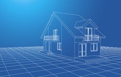 Drawing at home. Drawing of a house on blue background royalty free illustration
