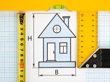 Drawing at home with construction tools Stock Photos