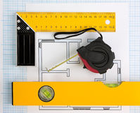 Drawing at home with construction tools Royalty Free Stock Photography
