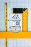 Drawing at home with construction tools Stock Images