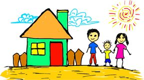 Drawing of home sweet home. Handdrawing, drawing of home sweet home Royalty Free Stock Images