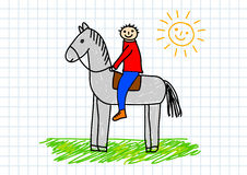 Drawing of horse. Drawing of boy with horse Royalty Free Stock Photography